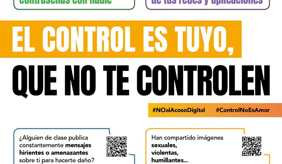 Campaña 'El control es tuyo, que no te control' | Foto: AEPD, MINISTERIO DE IGUALDAD Y MINISTERIO DE EDUCACIÓN