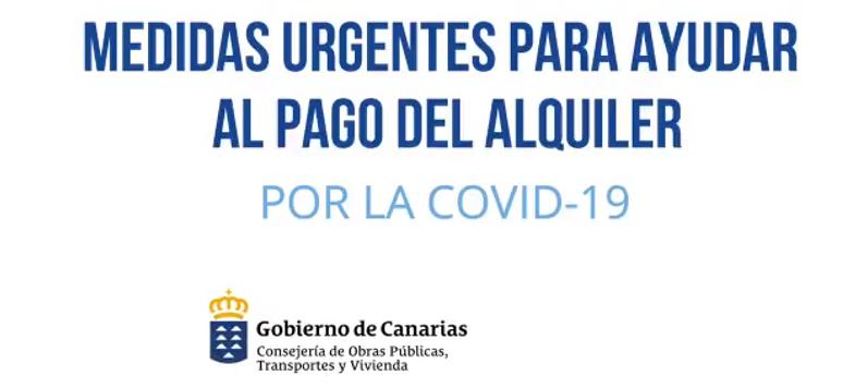 Cartel Medidas para Ayudar al Pago del Alquiler por la Covid 19   Foto: GOBIERNO DE CANARIAS