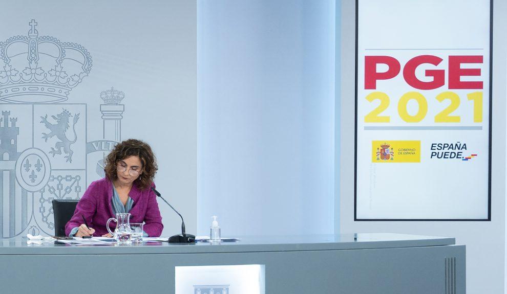 María Jesús Montero, ministra de Hacienda, durante la presentación de los PGE | Foto: MONCLOA
