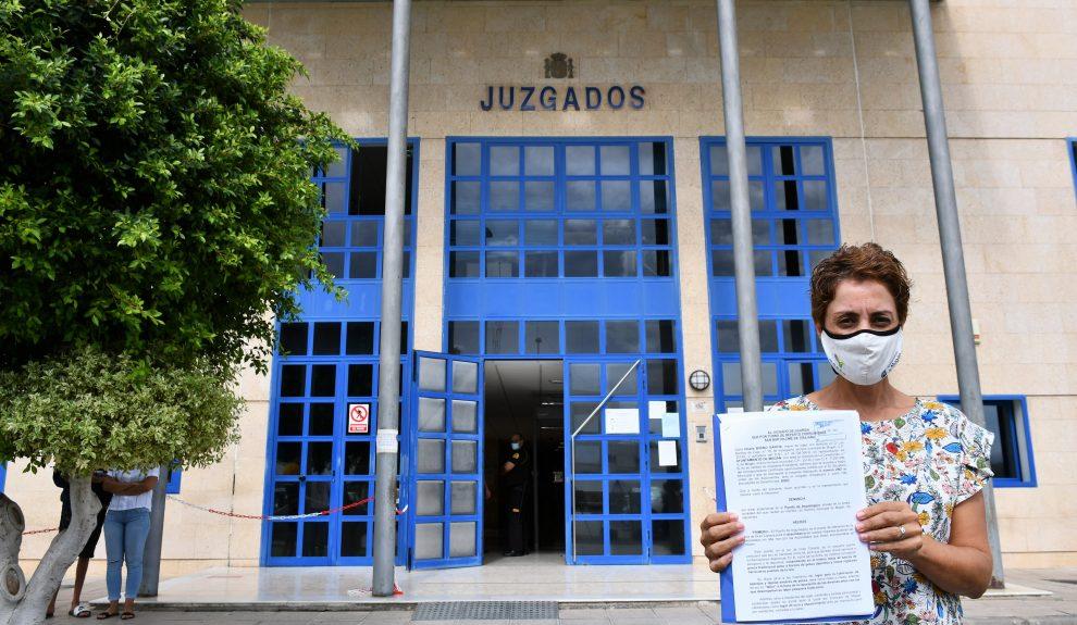 Onalia Bueno tras interponer la denuncia por las condiciones de los migrantes en el Muelle de Arguineguín | Foto: AYUNTAMIENTO DE MOGÁN