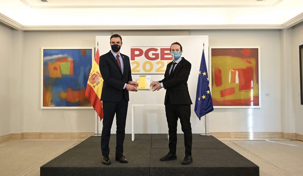 Pedro Sánchez y Pablo Iglesias durante la presentación de los PGE | Foto: MONCLOA
