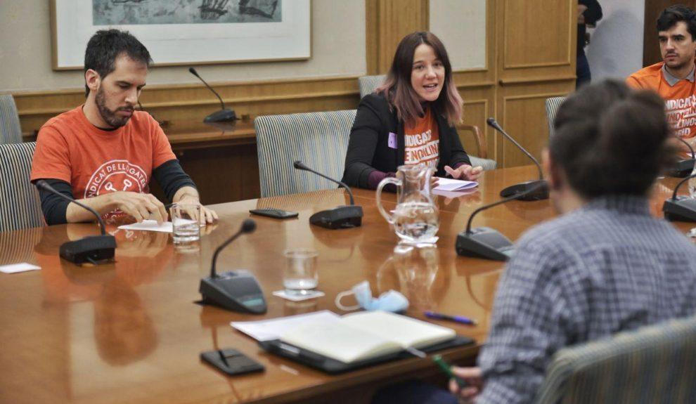 Reunión del Sindicato de Inquilinas e Inquilinos con Pablo Iglesias | Foto: SINDICATO DE INQUILINAS E INQUILINOS