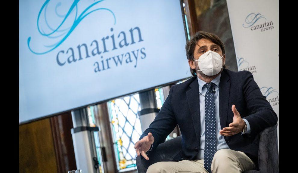 Jorge Marichal en la presentación de Canarian Airways el pasado febrero | ASHOTEL