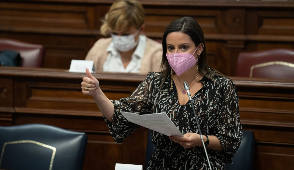 Yaiza Castilla en el Parlamento de Canarias ayer   GOBIERNO DE CANARIAS