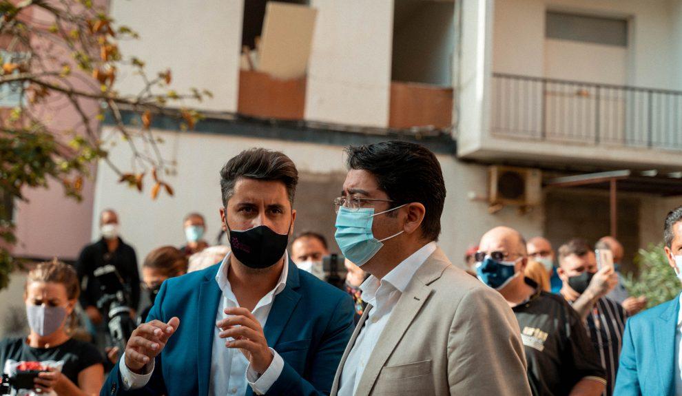 Luis Yeray Gutiérrez (izq.) y Pedro Martín en Las Chumberas el pasado septiembre | AYUNTAMIENTO DE LA LAGUNA