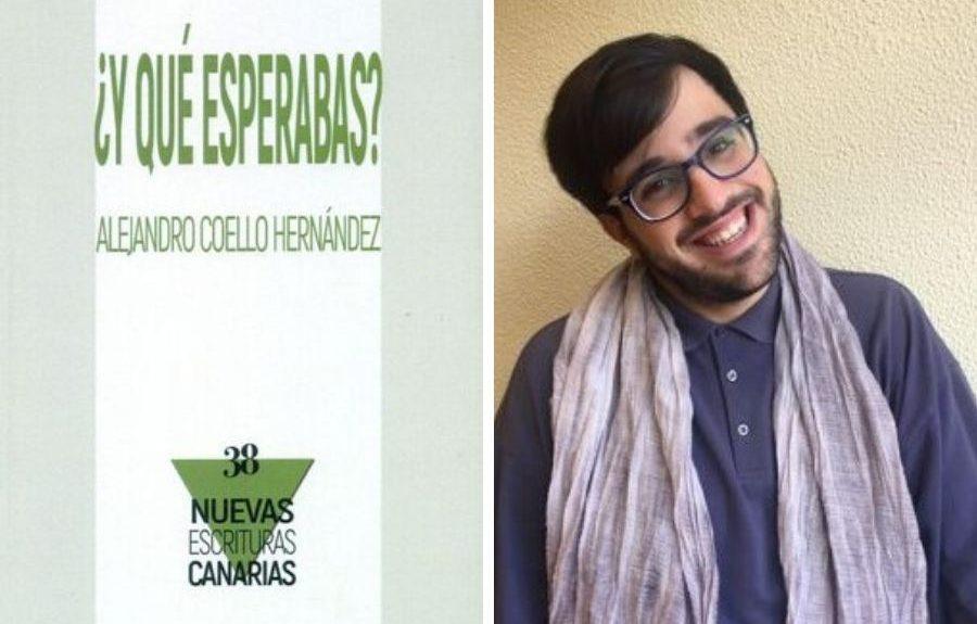 Alejandro Coello y la portada de su libro   CONSEJERÍA DE CULTURA DEL GOBIERNO DE CANARIAS