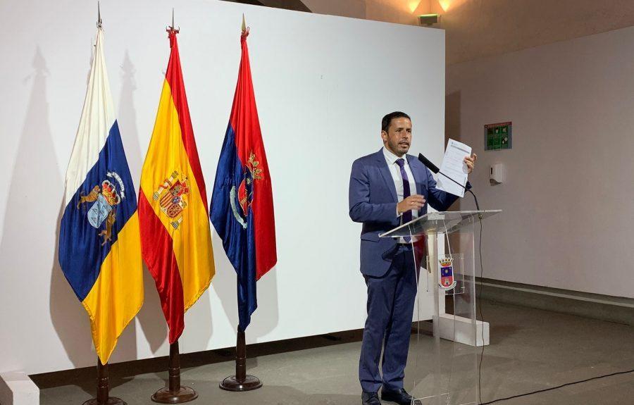 Héctor Suárez anunciando su renuncia a la alcaldía el pasado lunes | AYUNTAMIENTO DE TELDE