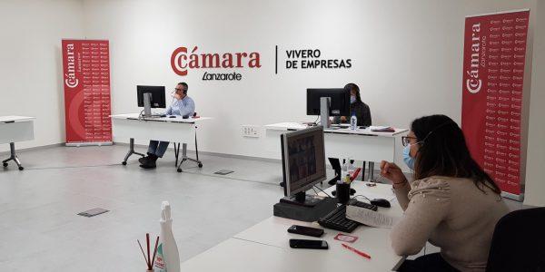 Trabajadores en la sede   CÁMARA DE COMERCIO DE LANZAROTE Y LA GRACIOSA