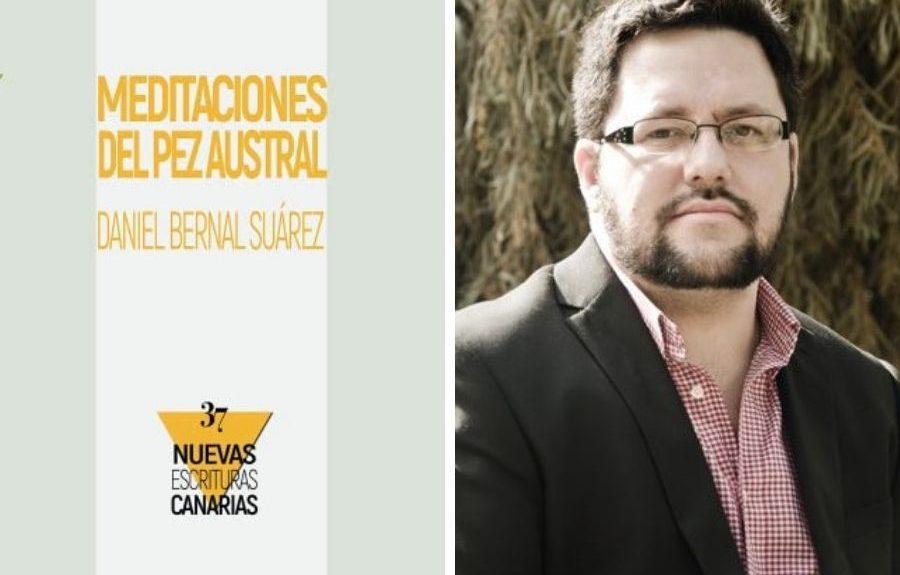 Daniel Bernal y la portada de su libro   CONSEJERÍA DE CULTURA DEL GOBIERNO DE CANARIAS