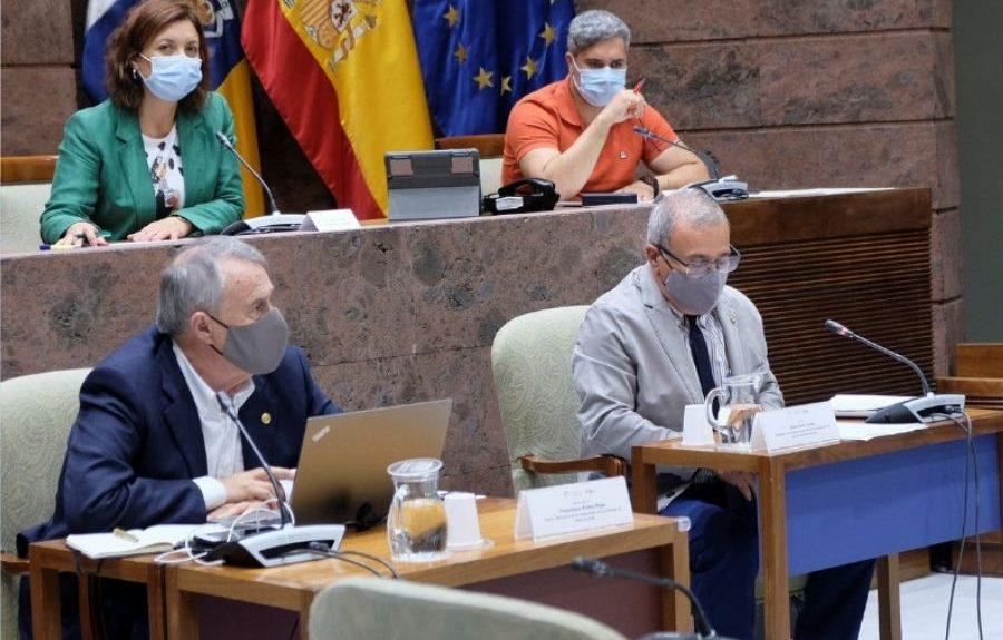 Jesús León Lima (dcha.) en comisión parlamentaria el pasado junio | CONSEJO SOCIAL DE LA ULPGC