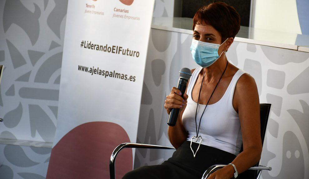 Onalia Bueno en un acto de jóvenes empresarios el pasado día 12 | AYUNTAMIENTO DE MOGÁN