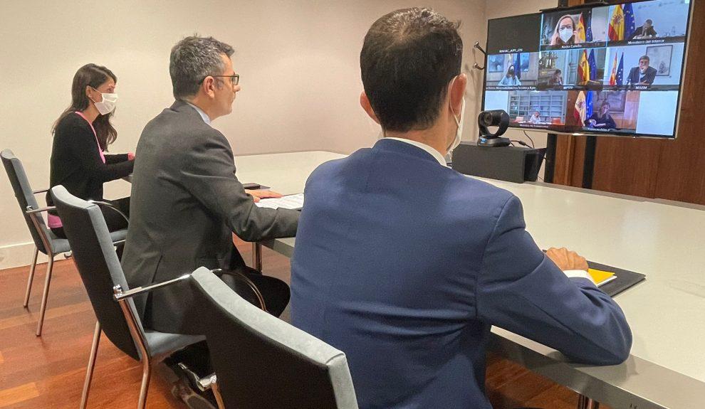 El ministro de Presidencia Félix Bolaños en una reciente visita a La Palma